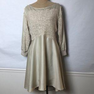 Anthropologie Cotton knit detail full skirt dress